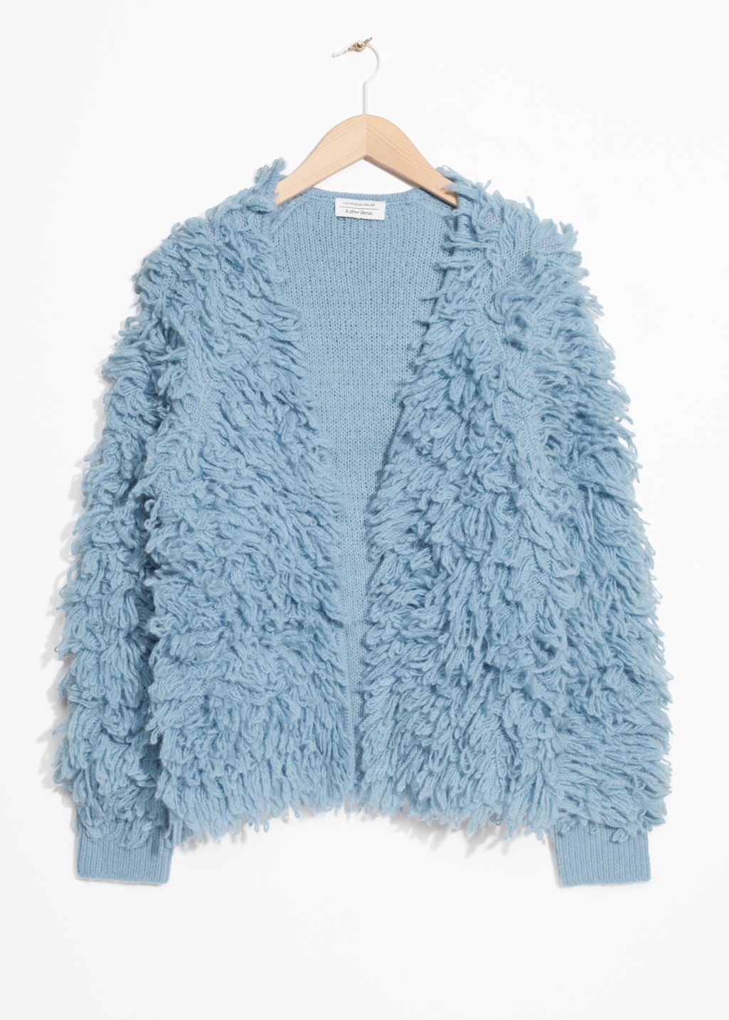Front image of Stories shaggy cardigan in blue