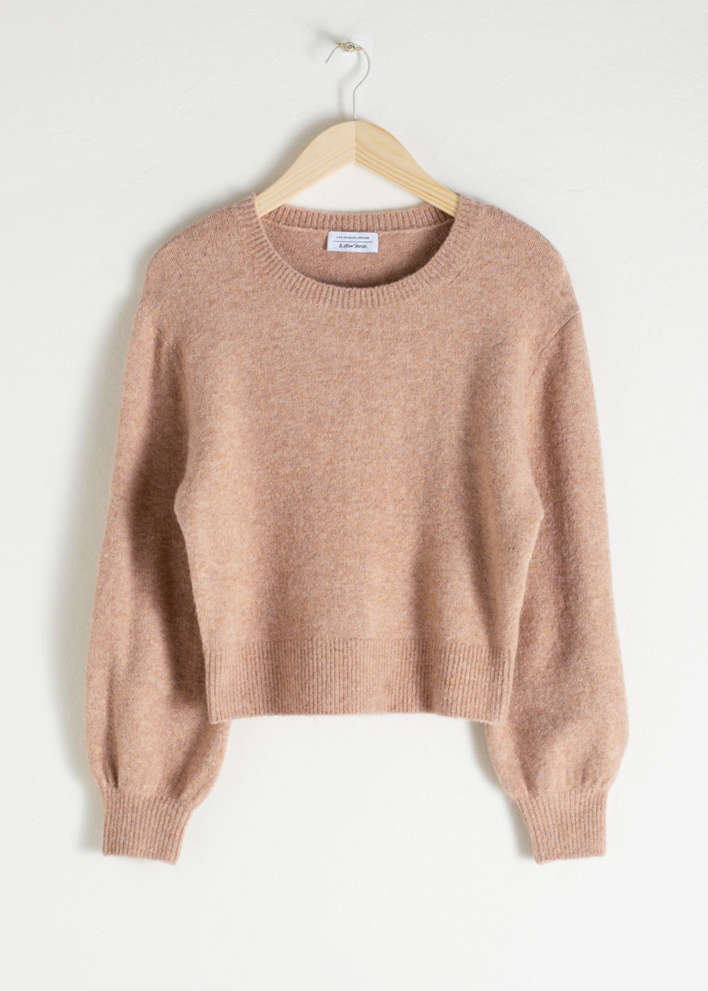 Front image of Stories cropped sweater in beige