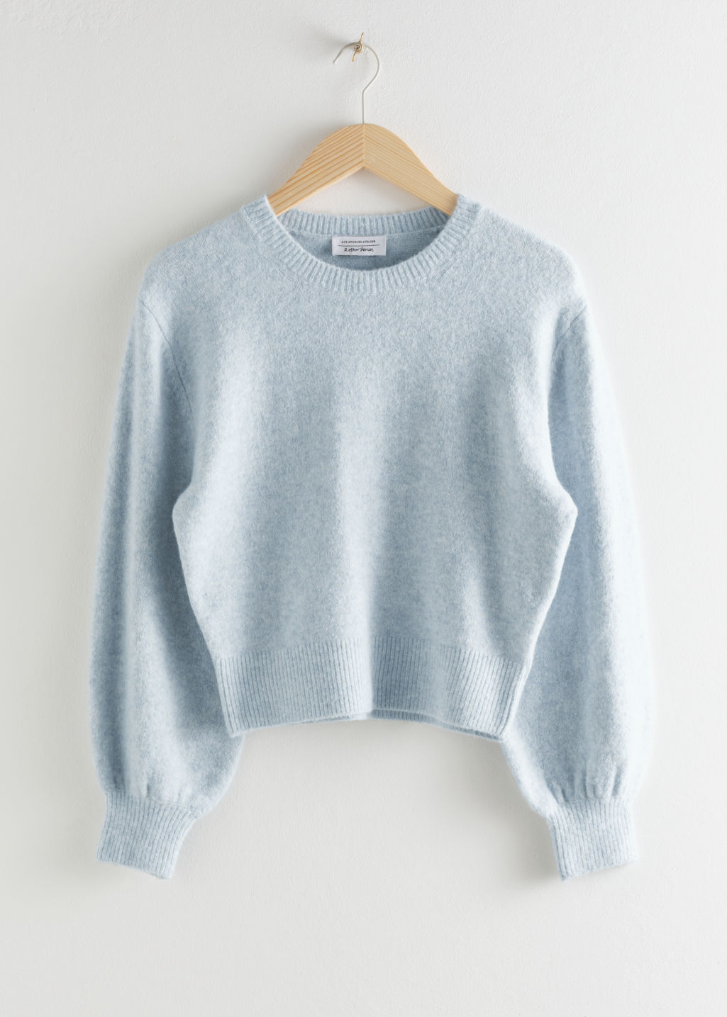 Front image of Stories cropped sweater in grey