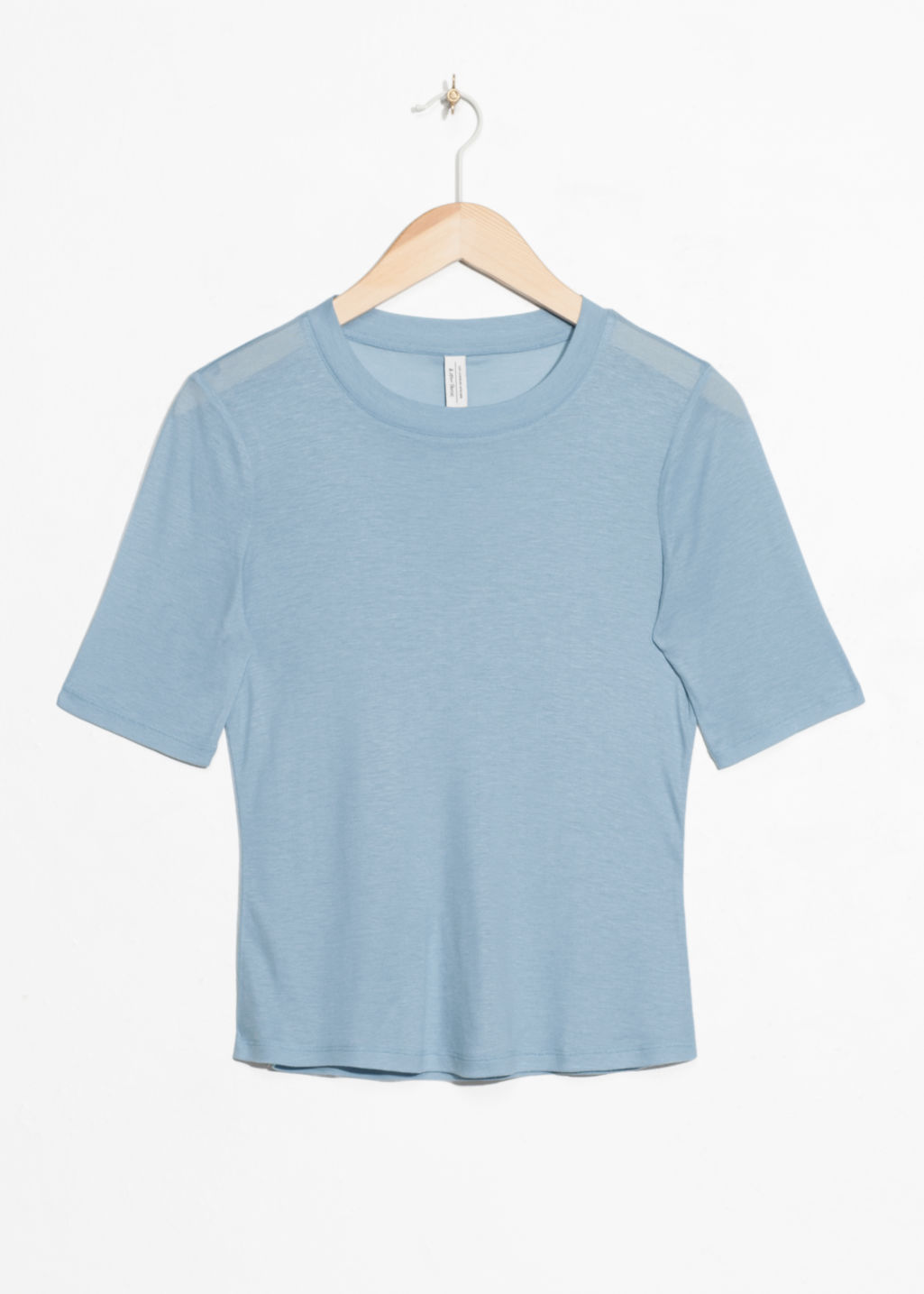 Front image of Stories cropped tee in blue