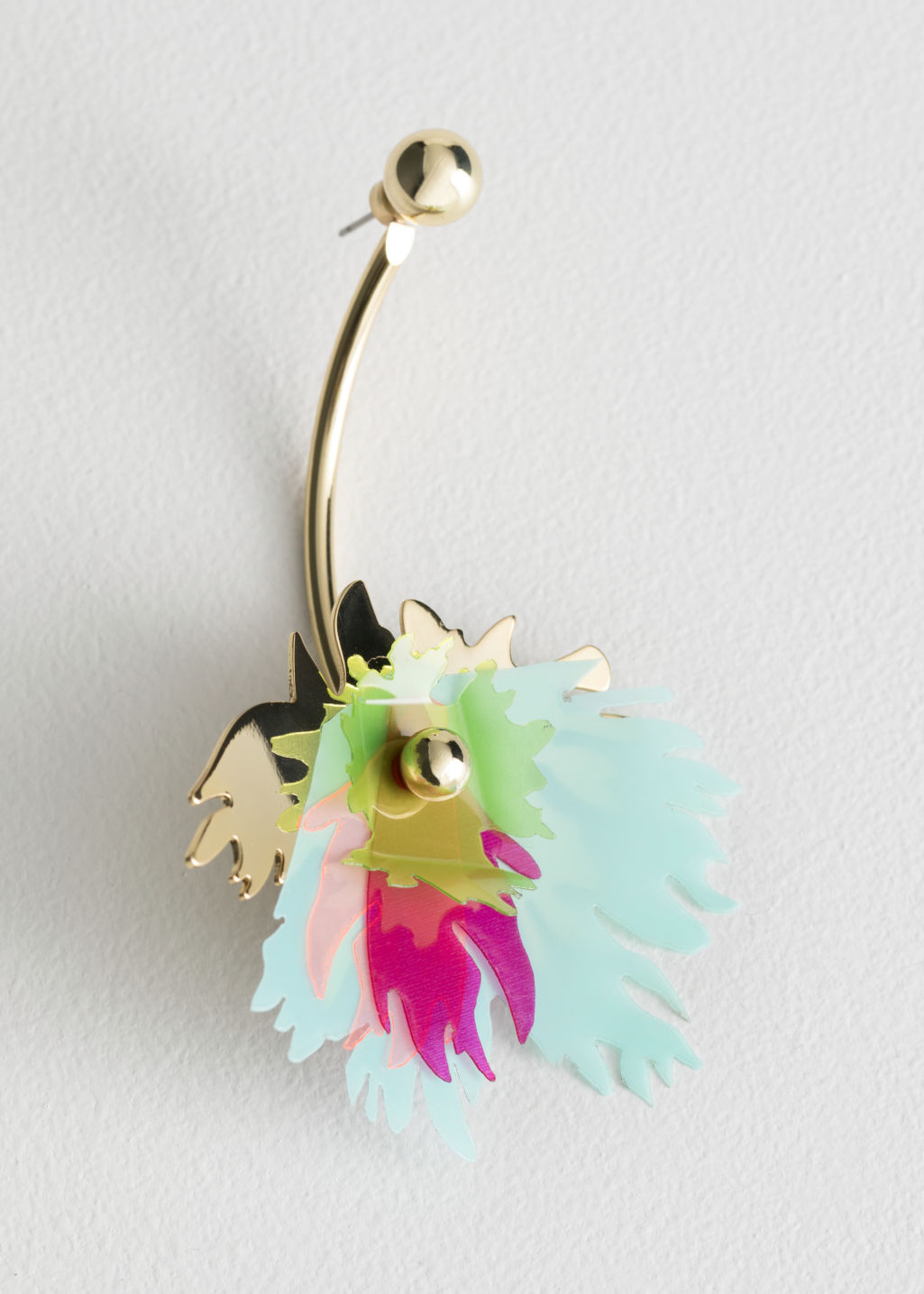 Front image of Stories single tropical plant bar earring in turquoise