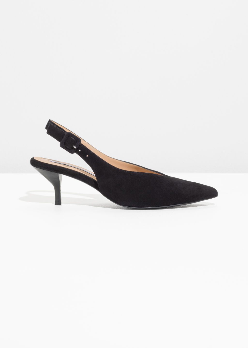 995545e3ed2 Pointed Suede Kitten Heels - Black - Pumps -   Other Stories