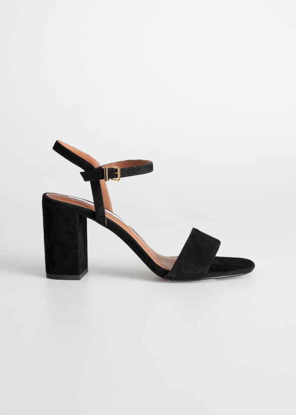Front image of Stories strappy block heel sandals in black