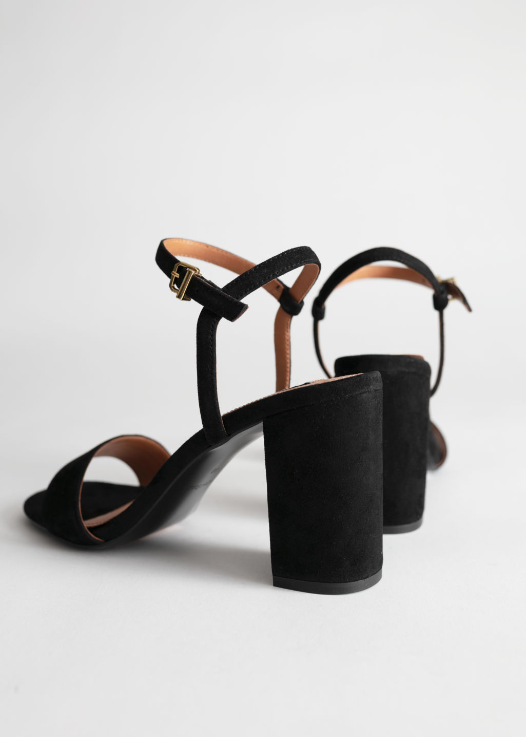 Back image of Stories strappy block heel sandals in black