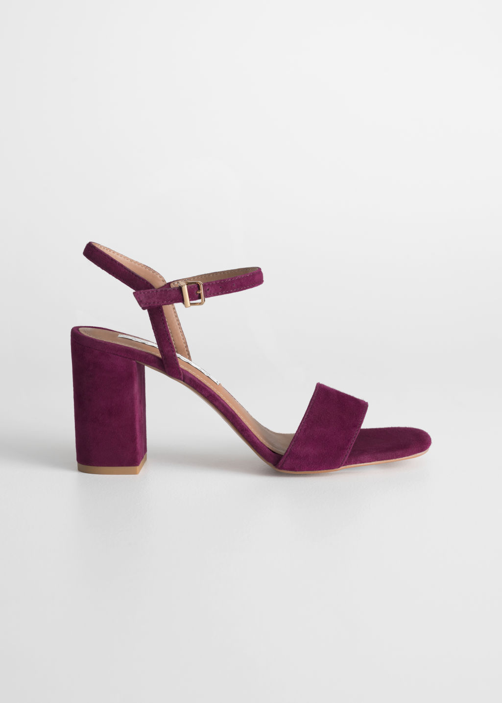 Front image of Stories strappy block heel sandals in red