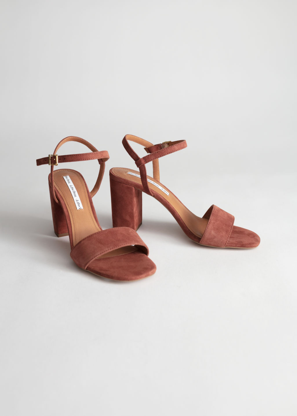 Back image of Stories strappy block heel sandals in orange