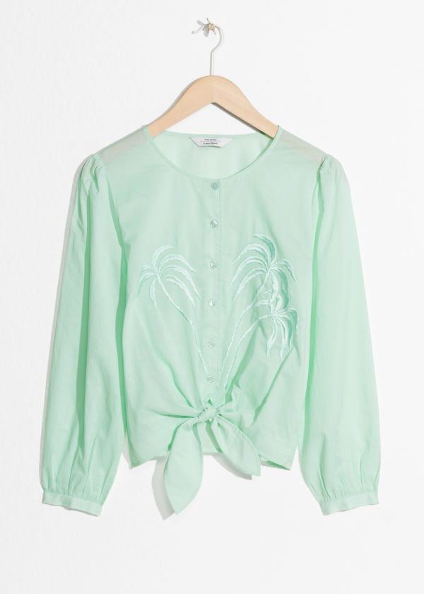 Palm Tree Embroidered Blouse
