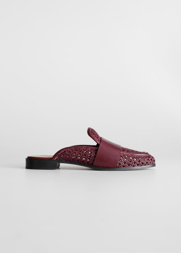 Pointed Woven Leather Slip Ons