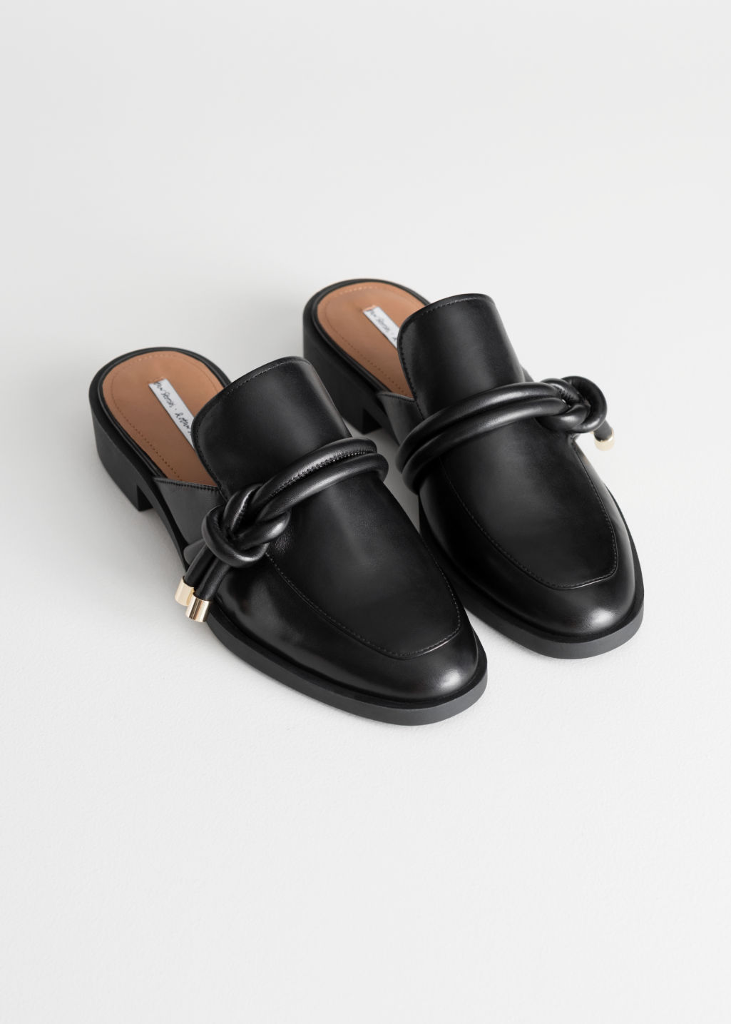 Back image of Stories reef knot loafers in black