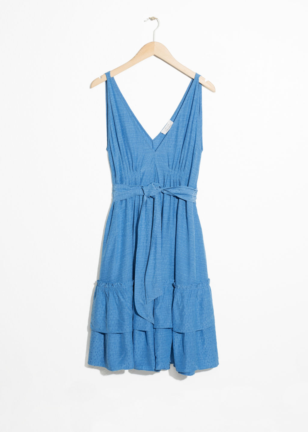 Front image of Stories ruffled empire waist dress in blue
