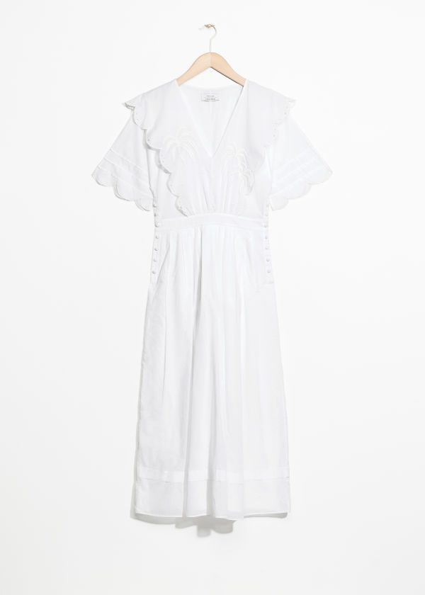 Front image of Stories palm embroidered scallop dress in white