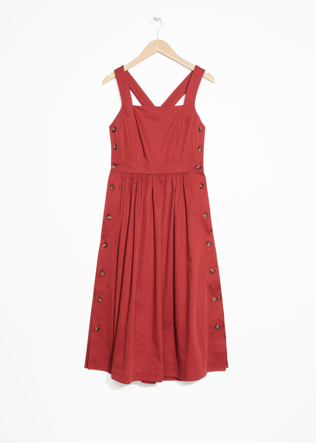 Side Button Pinafore Dress