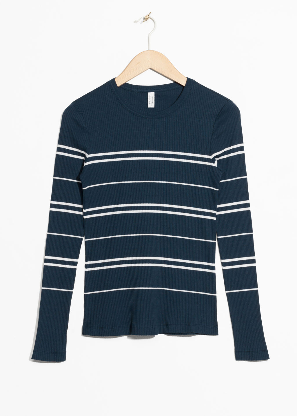 Front image of Stories striped long sleeve shirt in blue