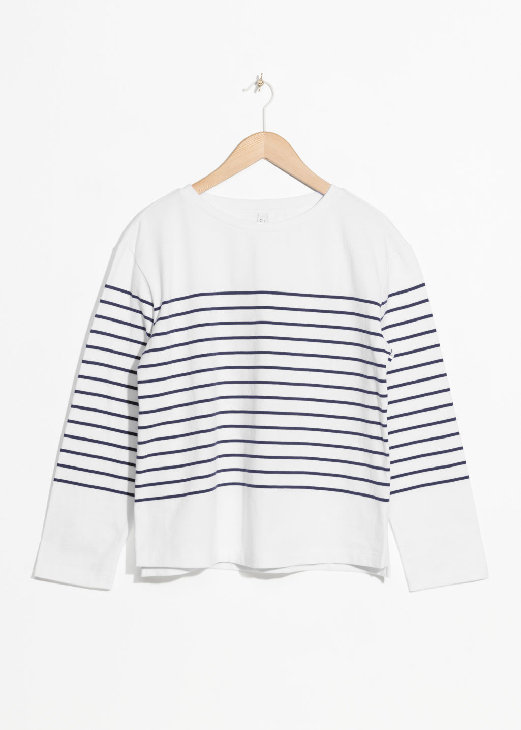 Front image of Stories striped shirt in white