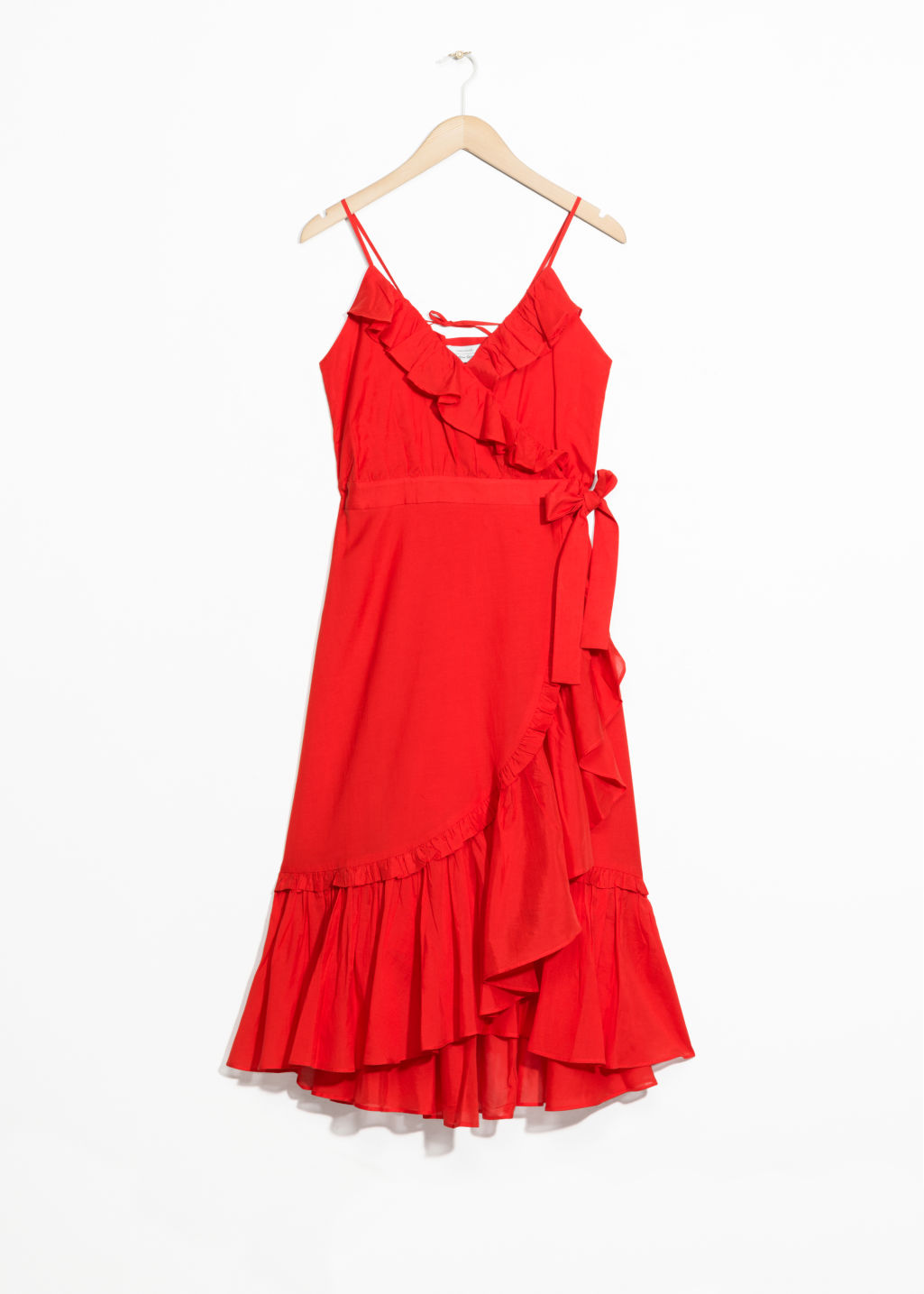 Front image of Stories ruffled wrap dress in red