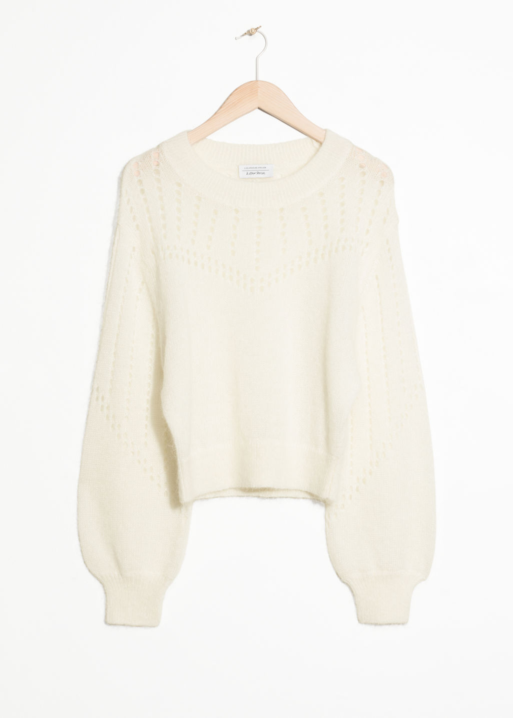 Front image of Stories eyelet knit sweater in white