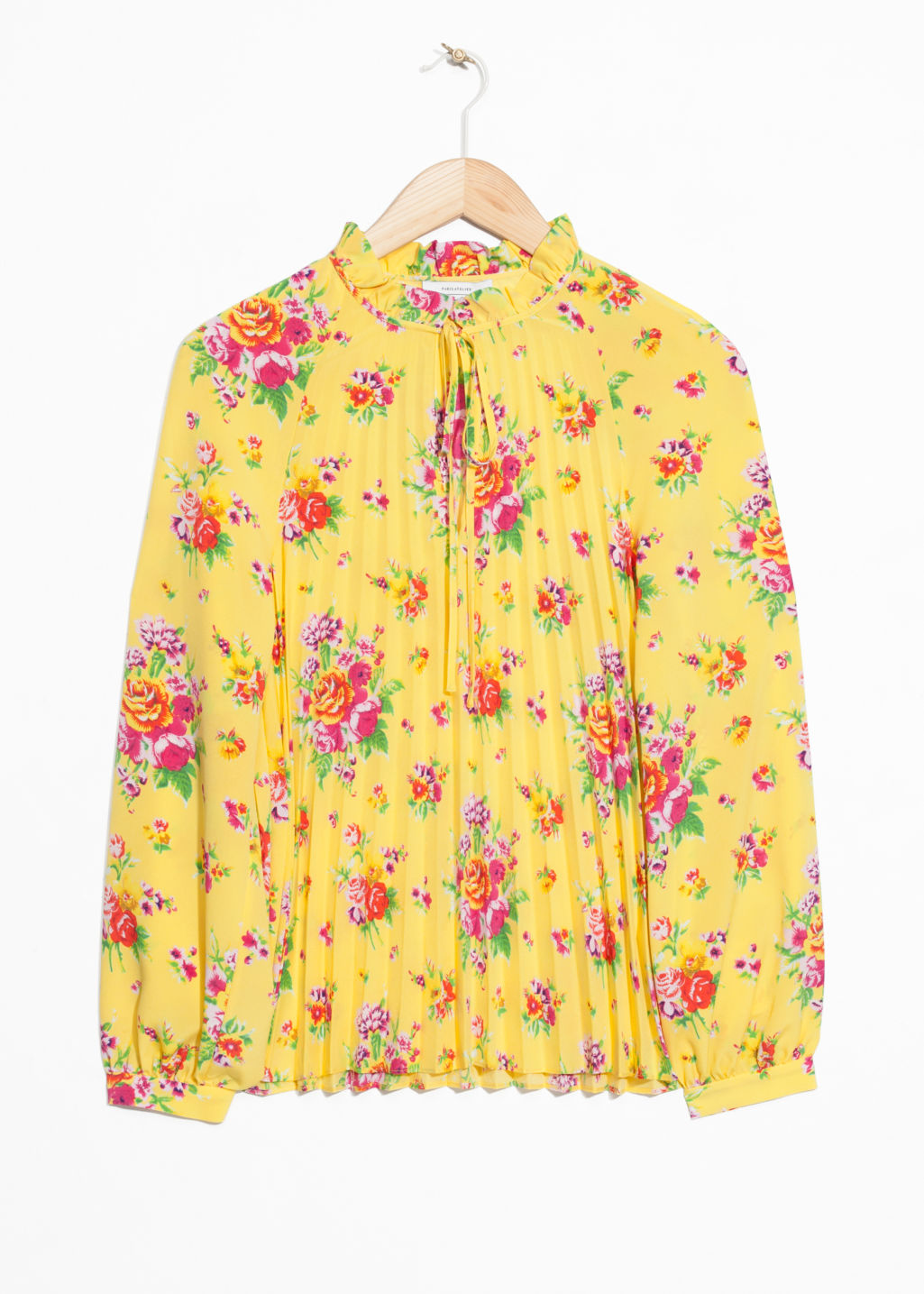 Front image of Stories pleated blouse  in yellow