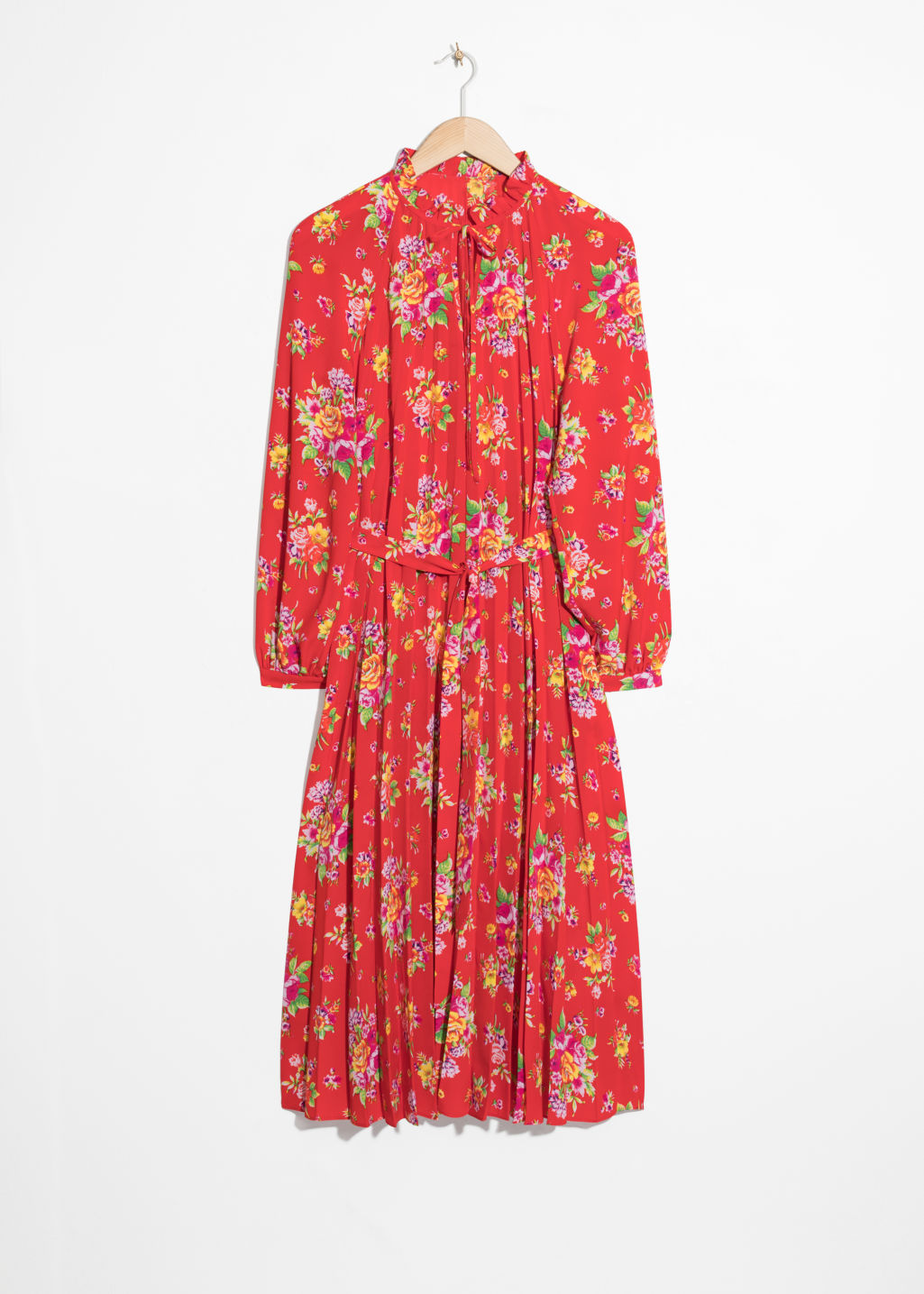 Front image of Stories floral pleated midi dress in red