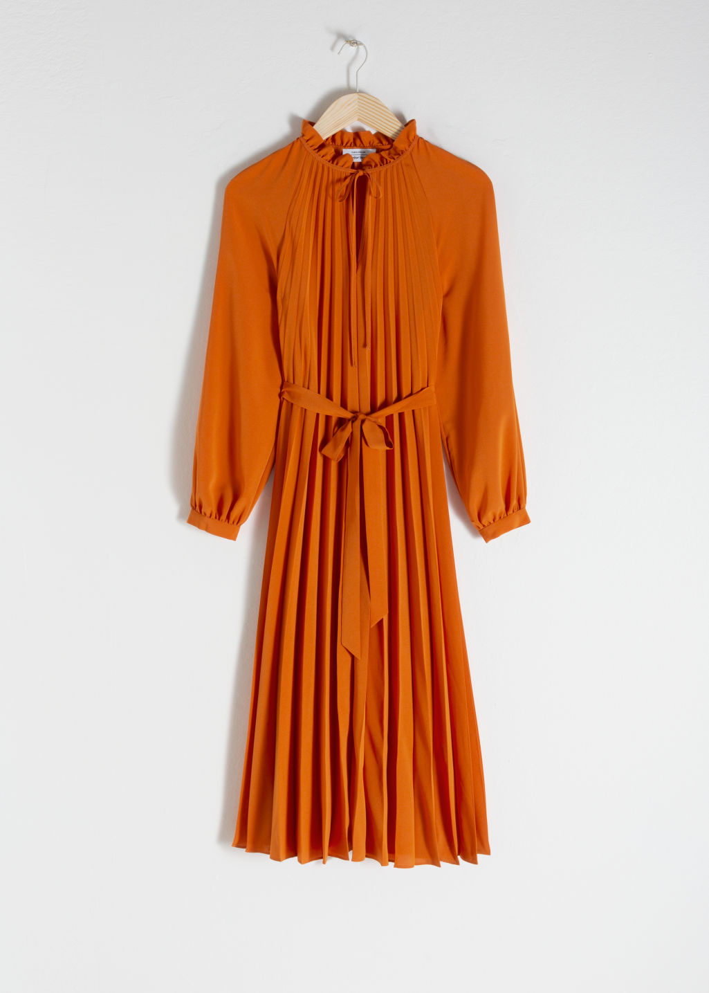 Front image of Stories printed pleated midi dress in orange