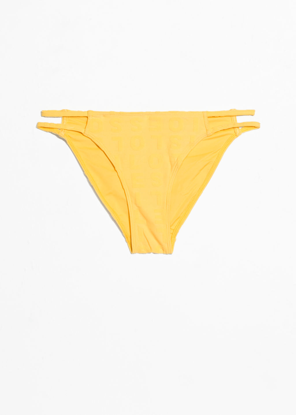 Front image of Stories duo strap bikini briefs in yellow