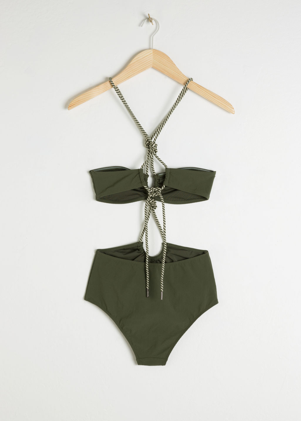 Back image of Stories open twisted rope swimsuit in green