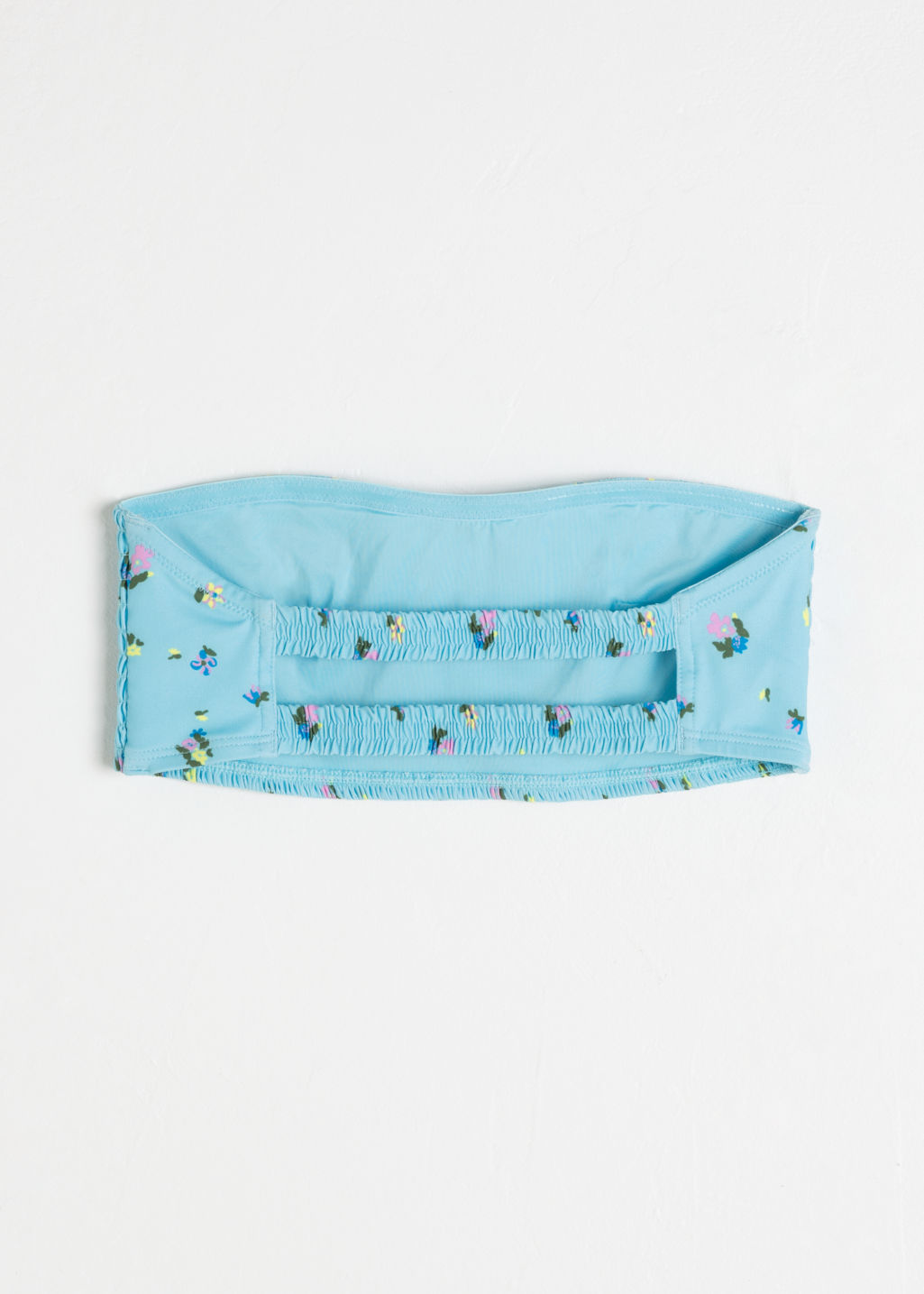 Back image of Stories crinkle floral bandeau bikini top in turquoise