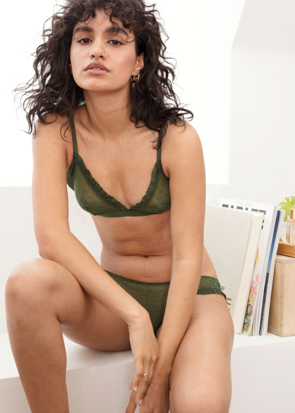 Back image of Stories polka dot mesh triangle bralette in green