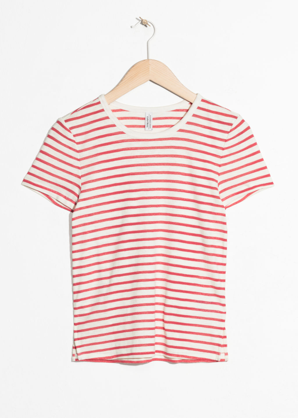 Front image of Stories faded striped t-shirt  in red