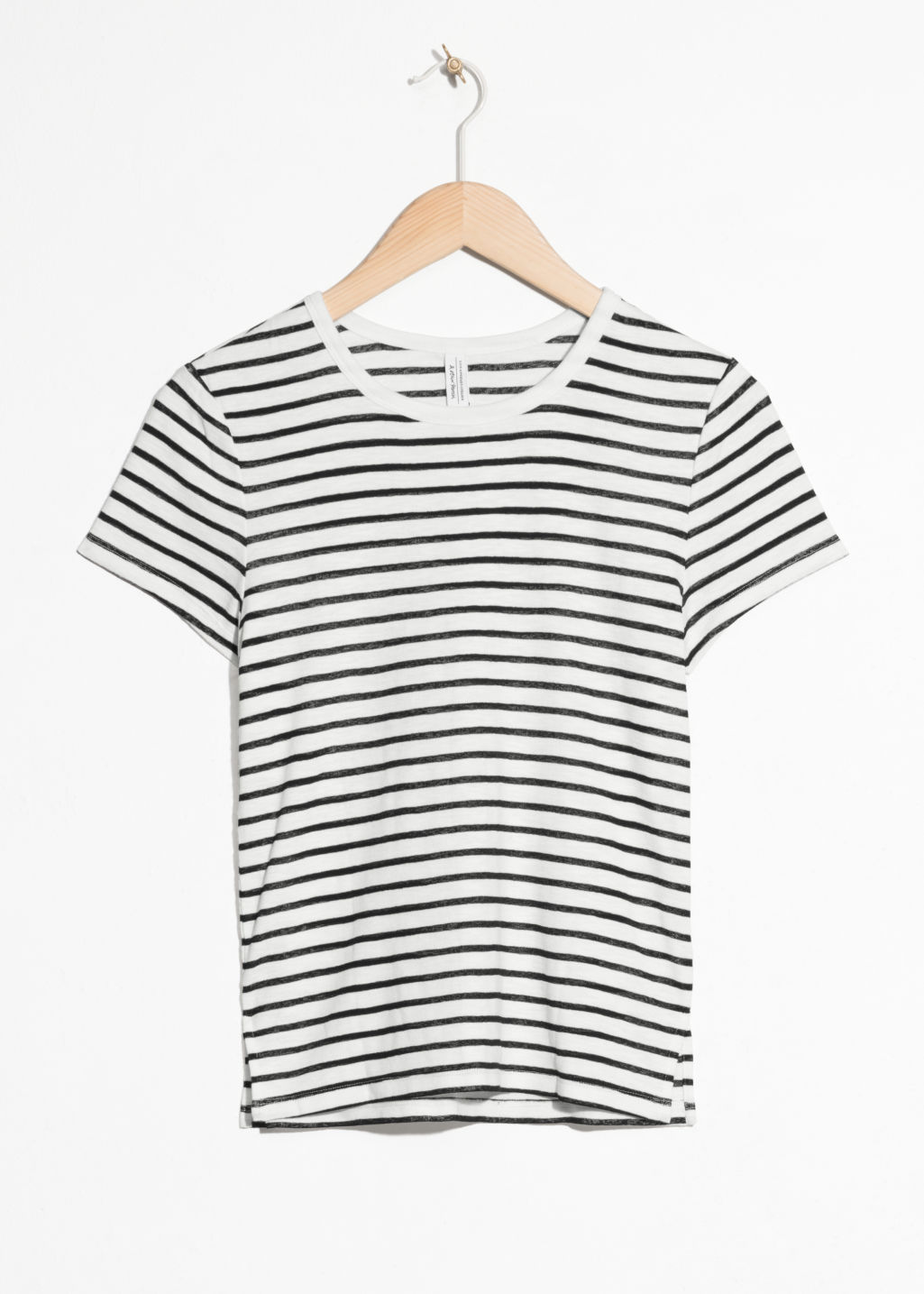 Front image of Stories faded striped t-shirt  in black