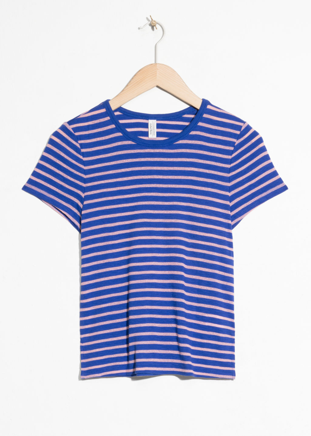 Front image of Stories faded striped t-shirt  in blue