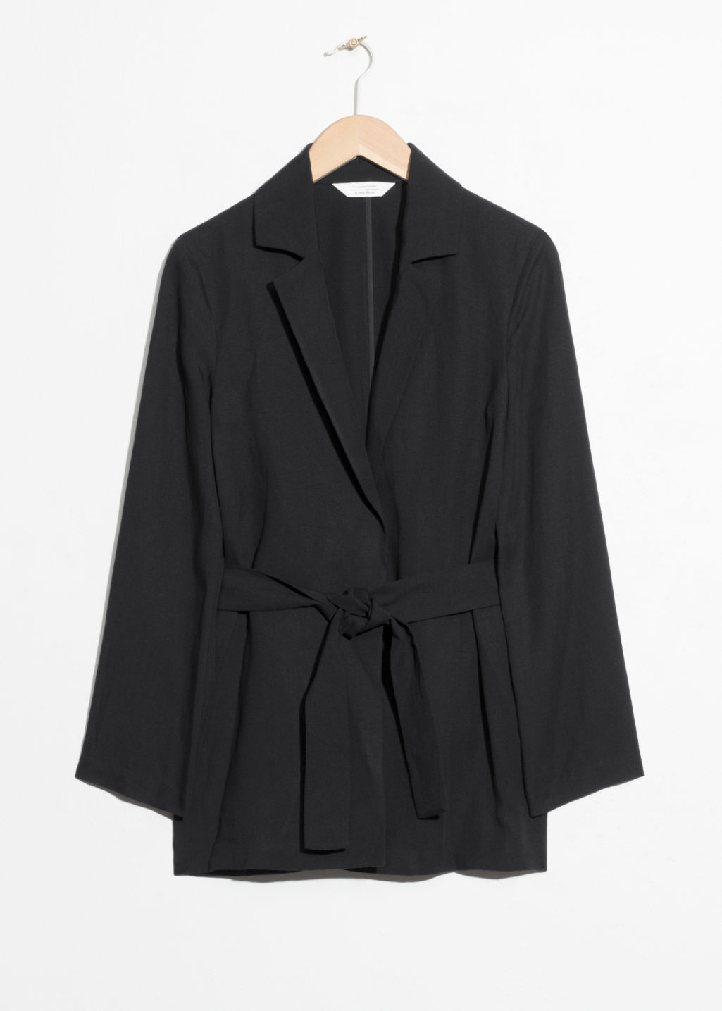 Front image of Stories belted blazer in black