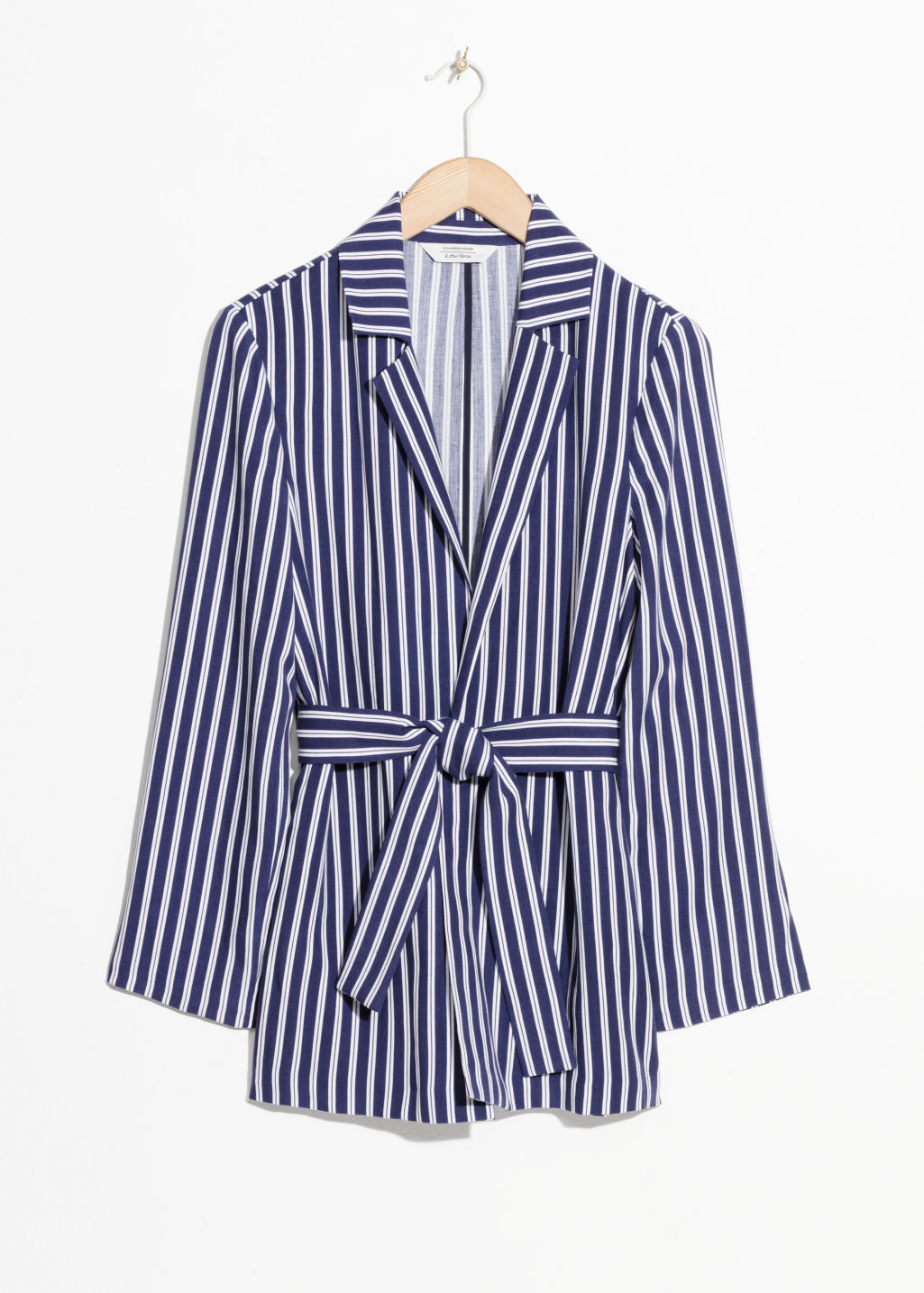 Front image of Stories belted blazer in blue