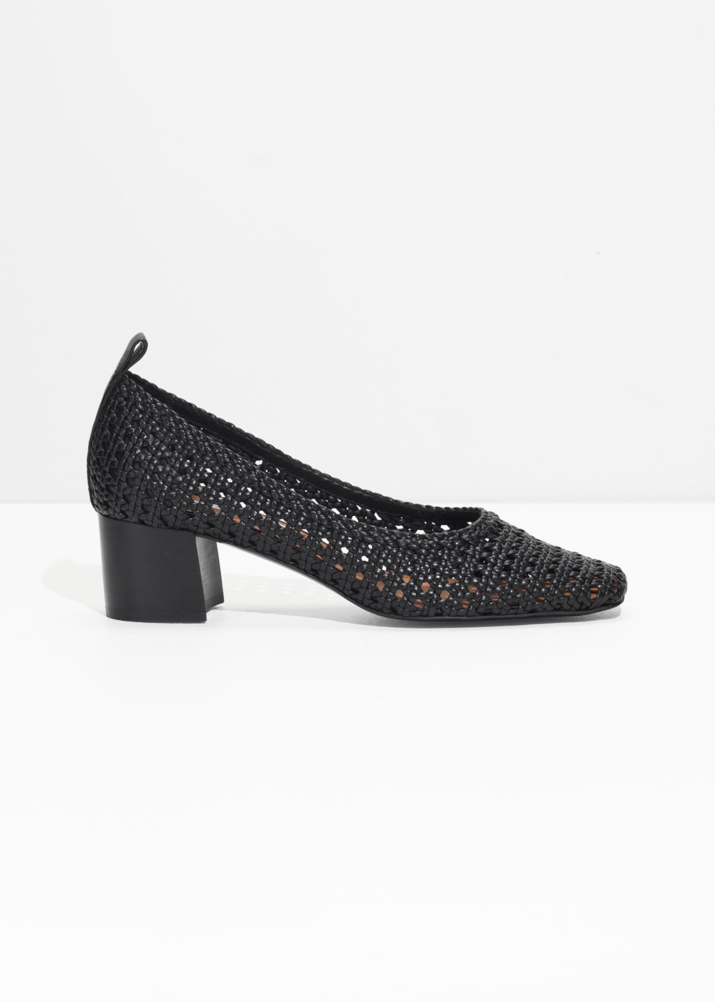 Front image of Stories square toe woven heels in black