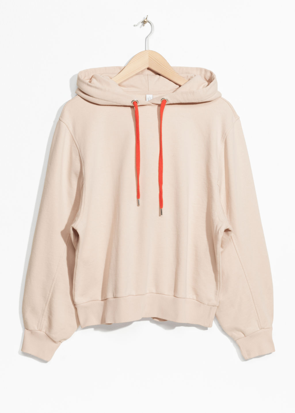 Front image of Stories oversized hoodie in orange