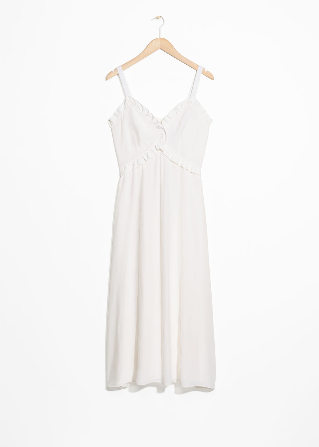 Front image of Stories sweetheart ruffle midi dress in white