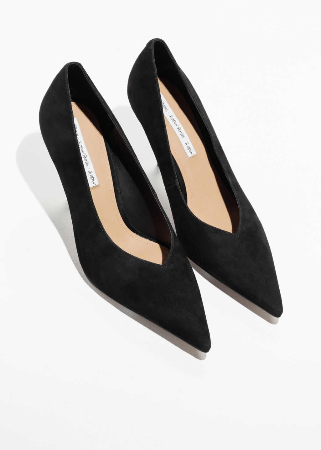 Bajo costo en venta 100% original en venta & OTHER STORIES Pointed Suede Kitten Heels - Black Venta Explorar HAxWid6