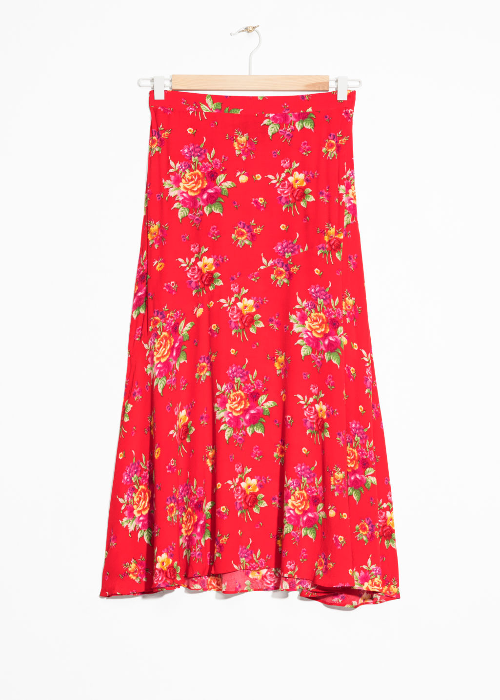 Front image of Stories asymmetrical floral midi skirt in red