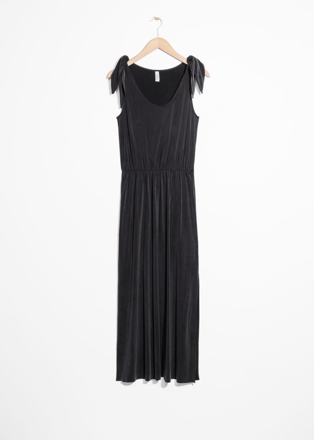 Front image of Stories ruched waist midi dress in black