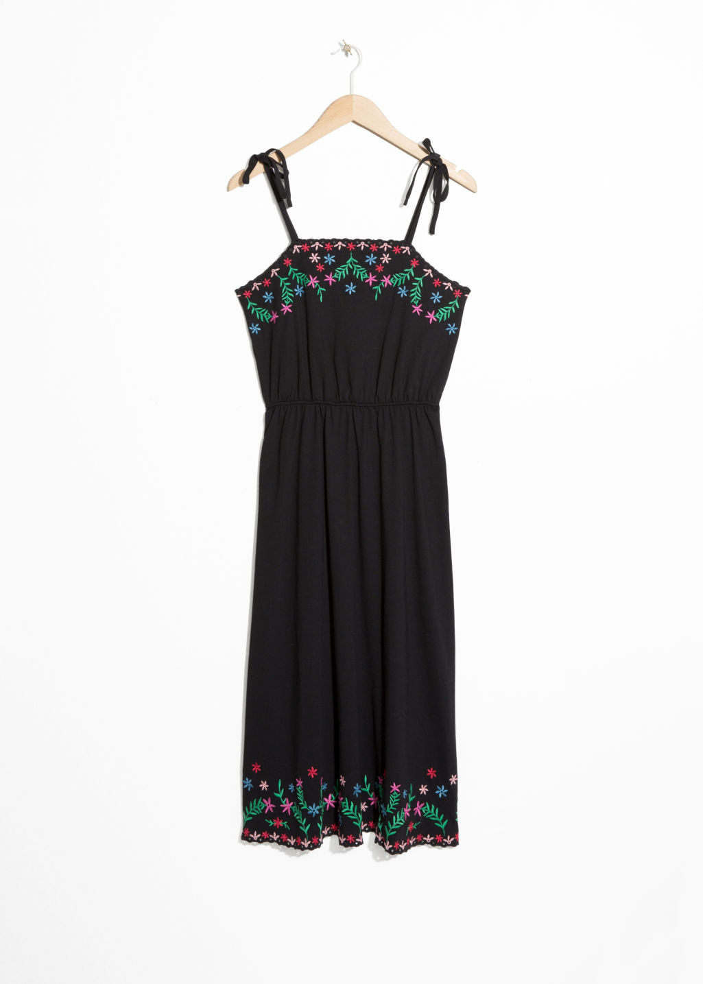 Front image of Stories embroidered summer midi dress in black
