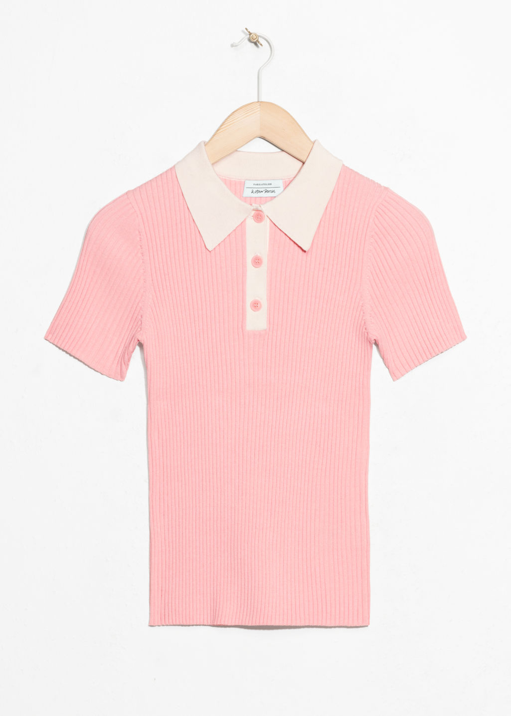 Front image of Stories knit polo top  in pink