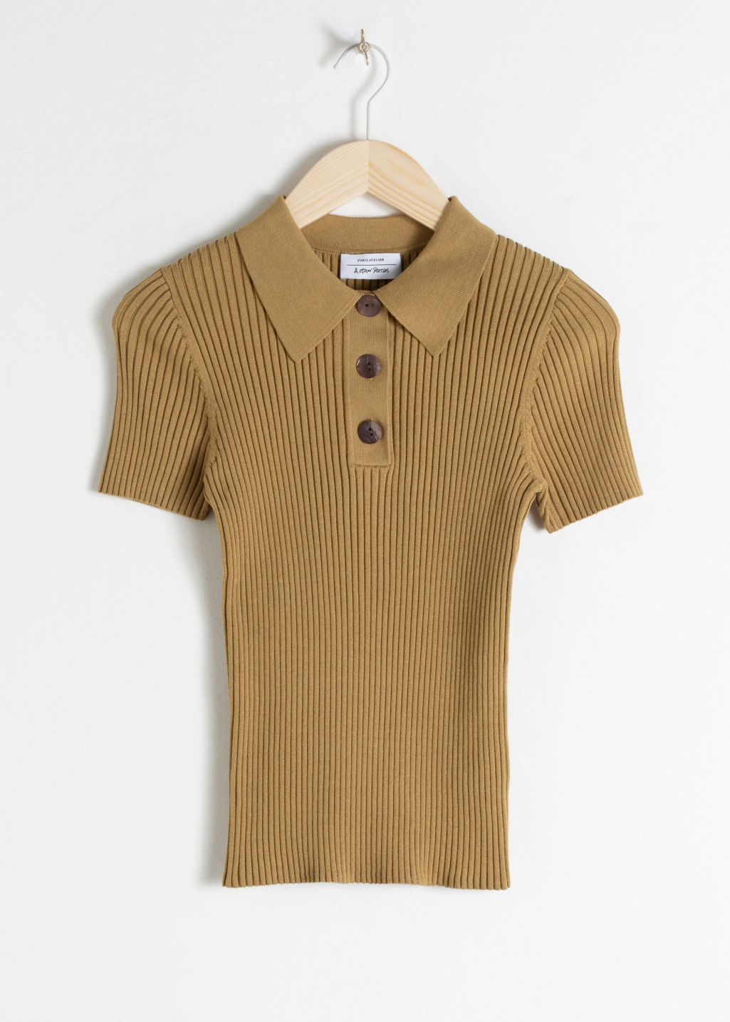 Front image of Stories knit polo top  in beige