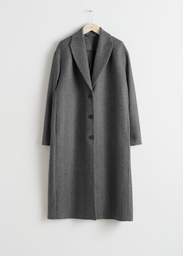 Front image of Stories herringbone wool blend coat in black