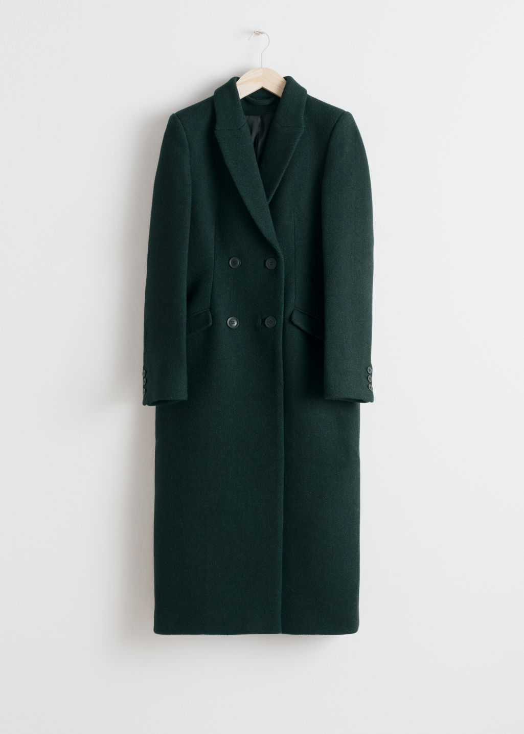 Front image of Stories hourglass double breasted coat in green