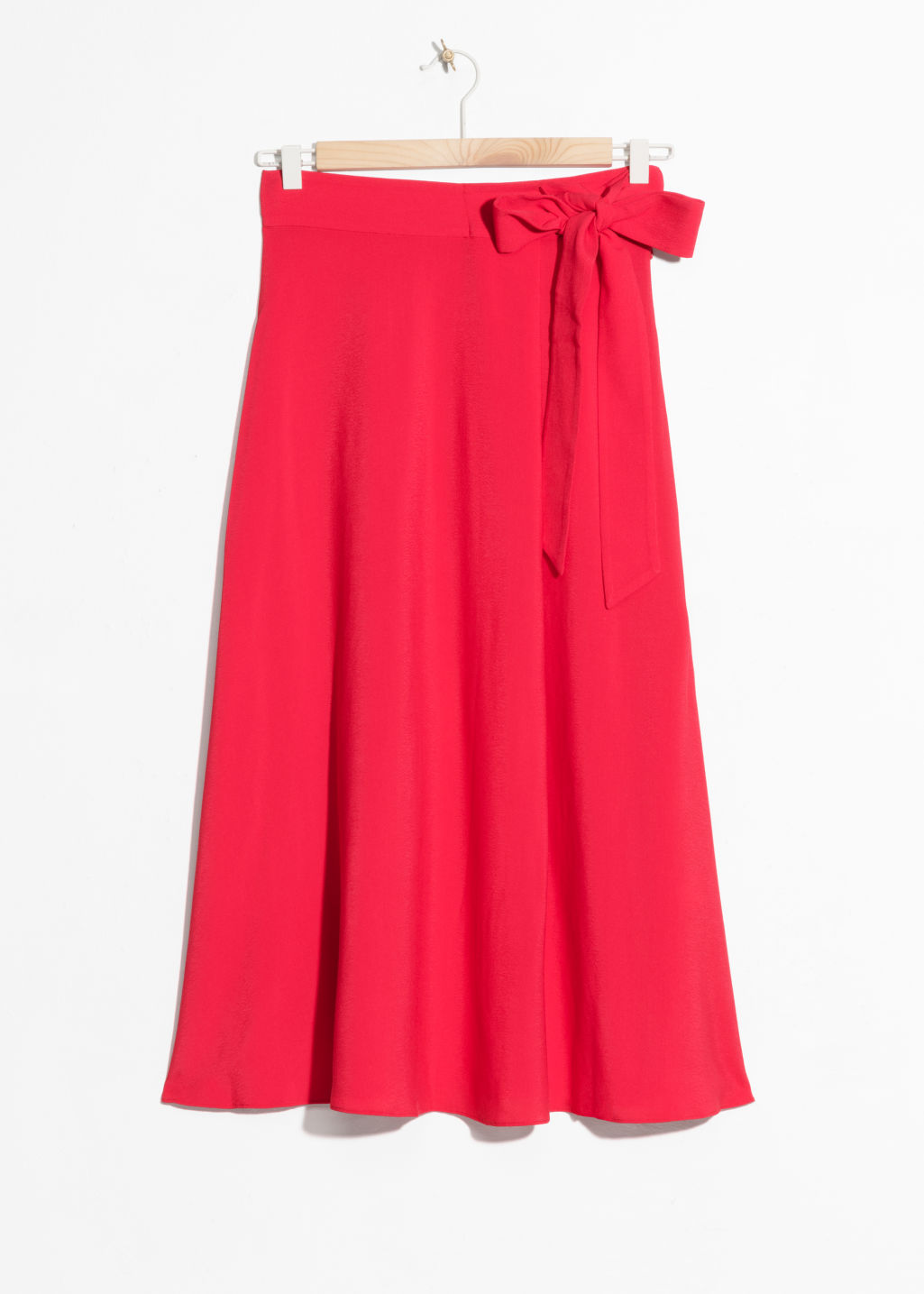 Front image of Stories belted midi skirt in red