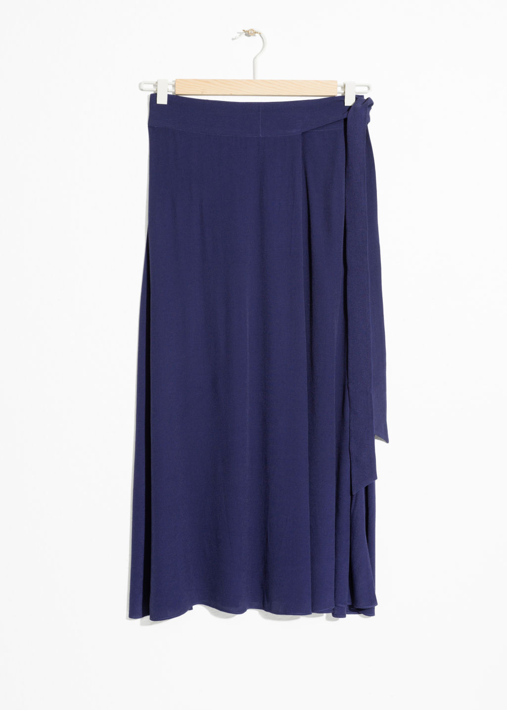 Front image of Stories belted midi skirt in blue