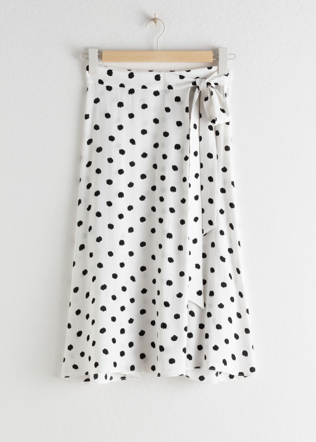 Front image of Stories belted midi skirt in white