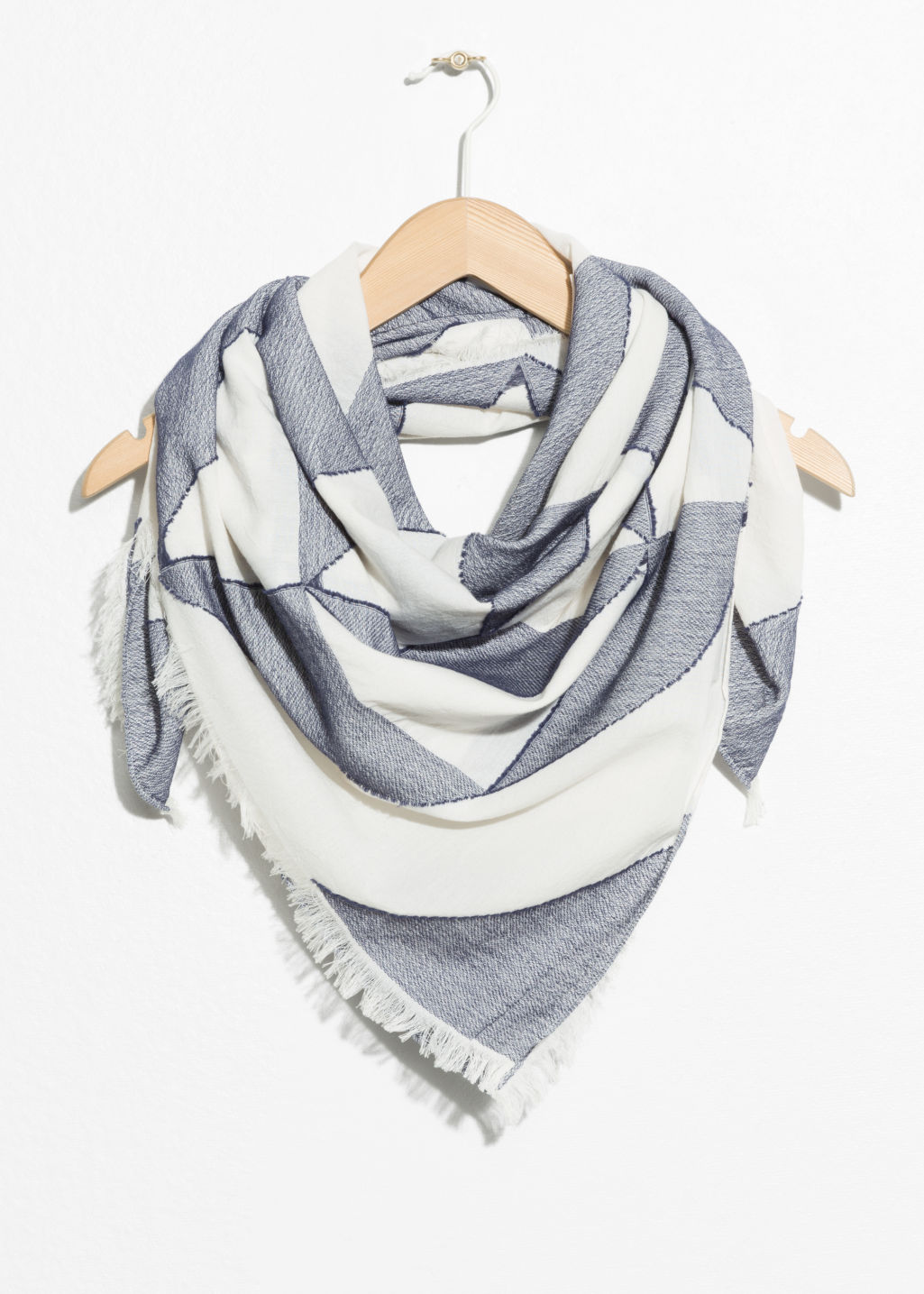 Front image of Stories triangle tile neck scarf in blue