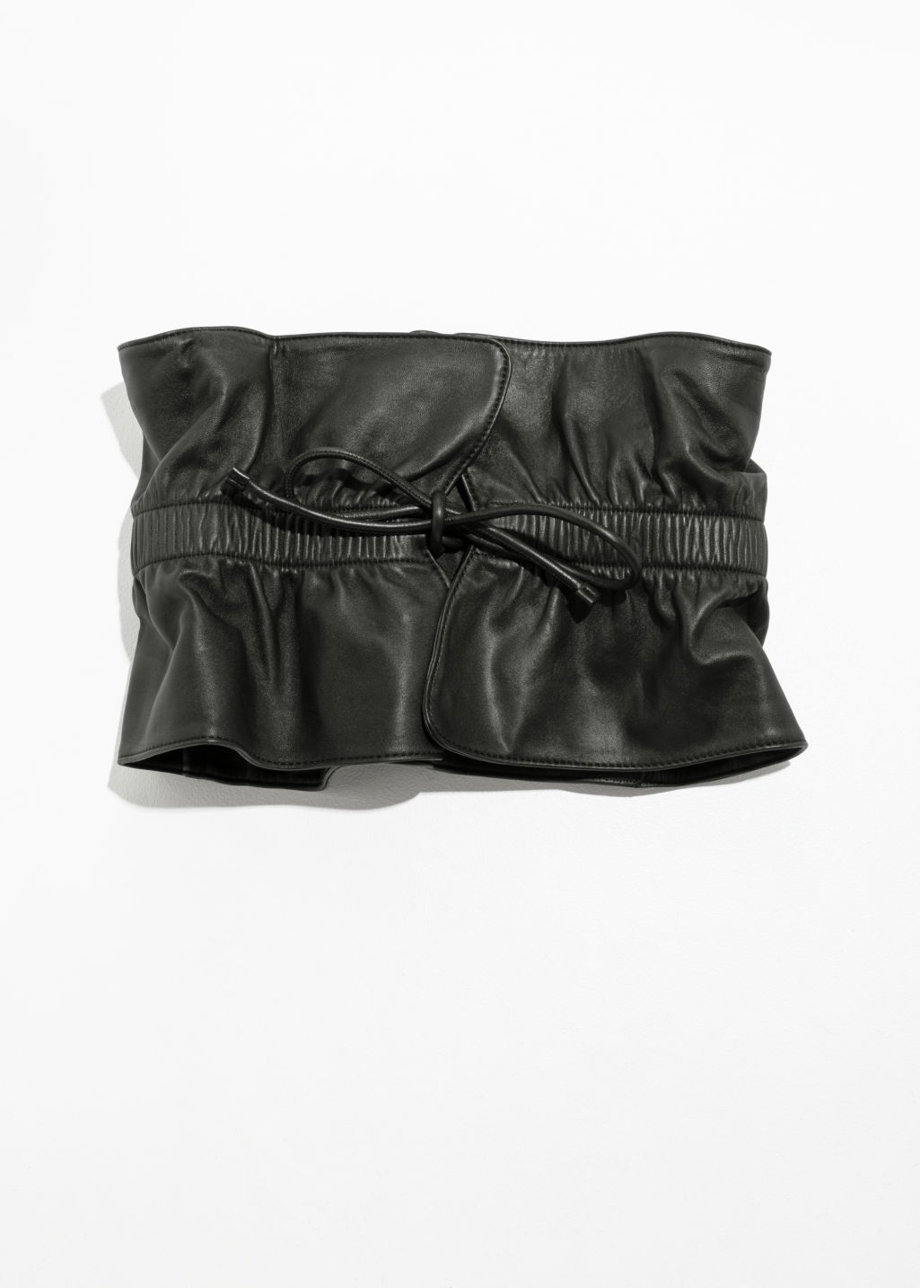 Front image of Stories paperwaist leather belt  in black