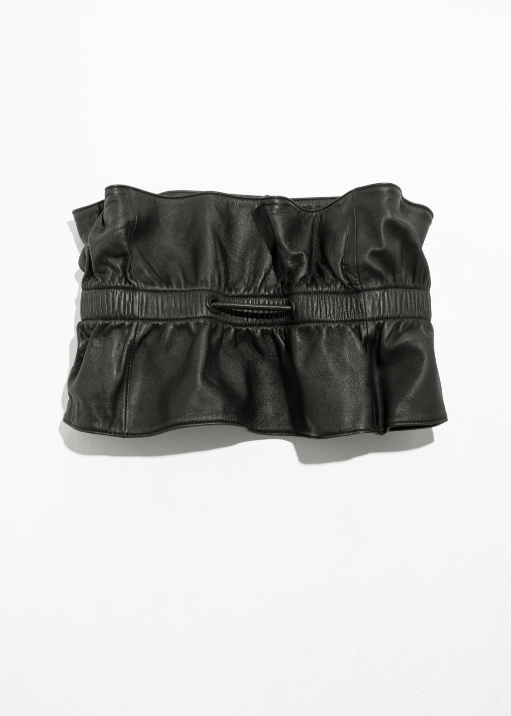 Back image of Stories paperwaist leather belt  in black