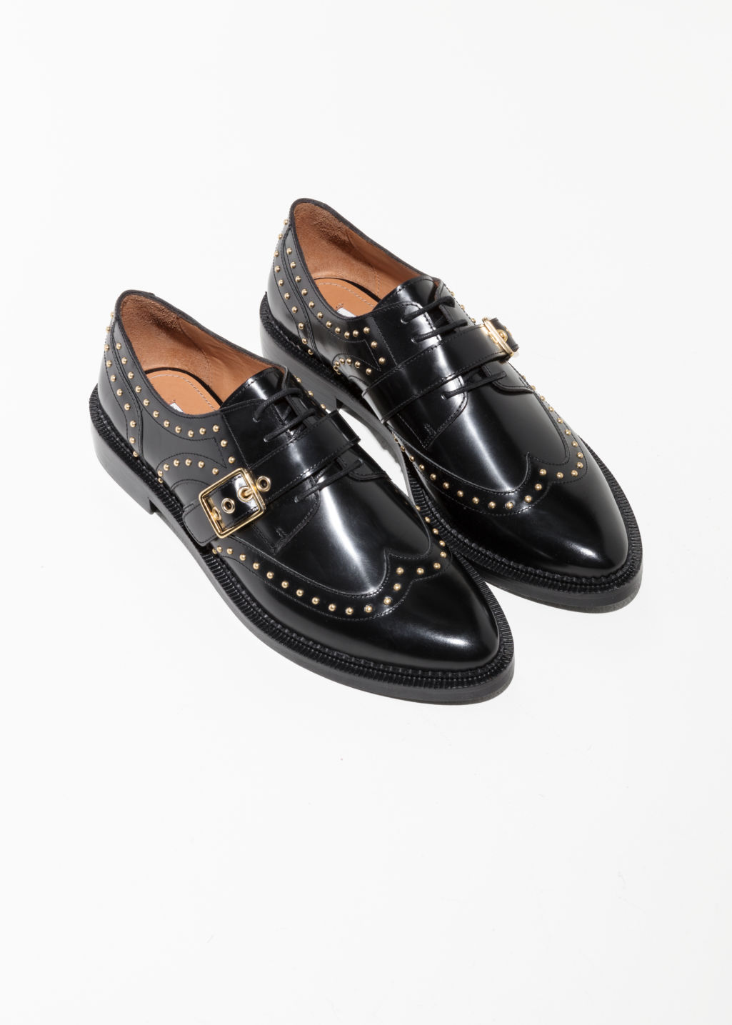 Back image of Stories buckle studded brogues in black